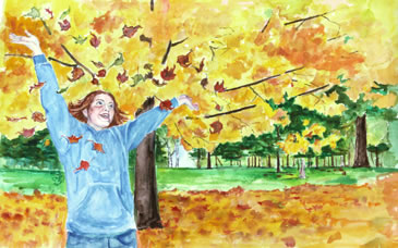 at one childrens book frolicking in leaves