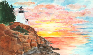 at one childrens book lighthouse sunrise