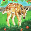at one children's book fawns at apple tree
